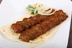 Kebab. Hot Juicy Grilled Kebab with onion and parsley stock images