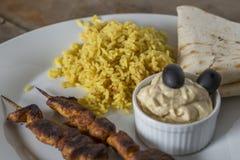 Kebab Hummus en Rijst Stock Afbeelding