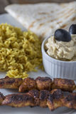 Kebab Hummus and Rice Royalty Free Stock Images