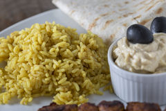 Kebab Hummus and Rice Stock Images