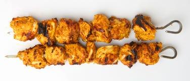 Kebab indiani di Tikka del pollo Fotografia Stock