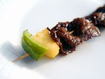 A kebab kebob shashlyk on a white plate Royalty Free Stock Photography