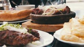 Kebab and Khachapuri in Georgian Cuisine Restaurant. Georgian Food stock footage