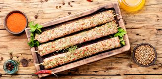 Kebab of lamb with herbs. Raw turkish traditional dish meat kebab with herbs and spices.Caucasian kitchen Royalty Free Stock Image