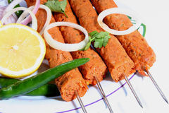 Kebab meal on plate closeup. Kebab meal ingredients on white plat and background Stock Photo
