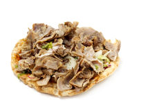 Kebab meat on flatbread royalty free stock images