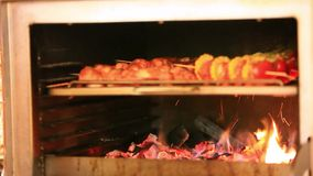Kebab meat roasts in the oven. HD. 1920x1080 stock video footage