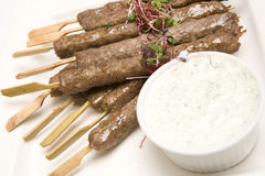 Kebab meat on skewers Royalty Free Stock Photos