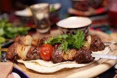 Kebab with meat and vegetables on skewers Royalty Free Stock Photo