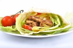 Kebab met groente stock afbeelding