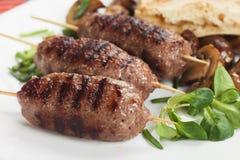 Kebab, minced meat skewer Royalty Free Stock Images