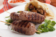 Kebab, minced meat skewer Stock Photos