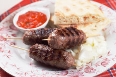 Kebab, minced meat skewer Stock Images