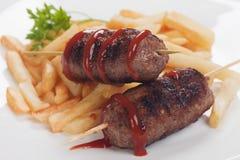 Kebab, minced meat skewer Royalty Free Stock Photo