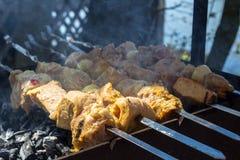 Kebab op de grill in openlucht royalty-vrije stock foto