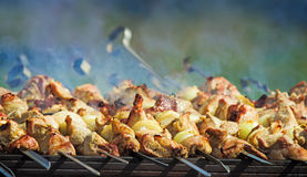 Kebab op vleespennen op de grill Stock Foto's