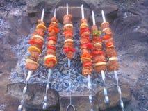 Kebab op vleespennen op een grill Royalty-vrije Stock Afbeeldingen