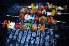 Kebab on outdoor grill. BBQ grilled kebab. Pork meat, mushroom, tomato and pepper Stock Photos