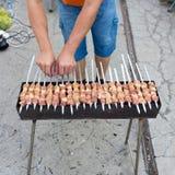 Kebab på kol arkivfoton