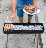 Kebab på kol fotografering för bildbyråer