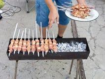 Kebab på kol royaltyfria bilder