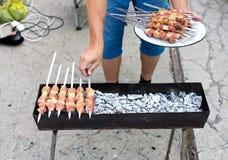 Kebab på kol arkivfoto