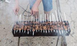Kebab på kol royaltyfri bild