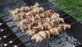 Kebab på steknålar Arkivfoton