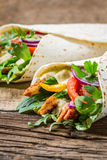 Kebab in a pancake with vegetables and chicken Royalty Free Stock Photography