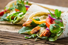 Kebab in a pancake with vegetables Stock Photo
