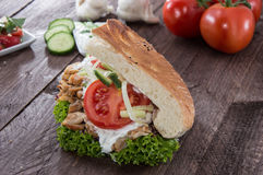 Kebab and Pita with ingredients Stock Photo
