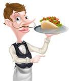 Kebab Pita Waiter Pointing de la historieta Imágenes de archivo libres de regalías