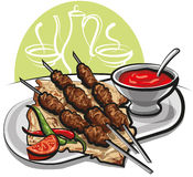 Kebab with pitta bread Royalty Free Stock Image