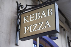Kebab and Pizza, Sign Stock Photos