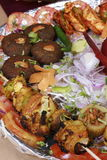 Kebab platter is a mixture of North Indian non vegetarian kebab. Served to gather with onions Royalty Free Stock Photography