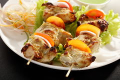Kebab Platter are small pieces of meat on skewers. Kebab (or originally kabab is a wide variety of skewered meals originating in the Middle East and later on Royalty Free Stock Photography