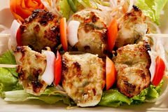 Kebab Platter are small pieces of meat on skewers. Kebab (or originally kabab is a wide variety of skewered meals originating in the Middle East and later on Royalty Free Stock Images