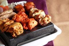Kebab Platter are small pieces of meat on skewers Royalty Free Stock Image