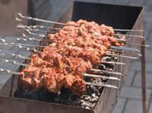 Kebab of pork with onions Royalty Free Stock Images