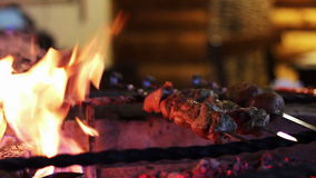 Kebab prepared on the grill in the restaurant stock video footage