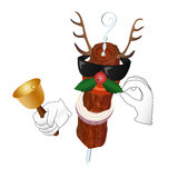 Kebab Reindeer with bell and holly berry Stock Image