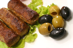 Kebab rolls and olives Stock Photo