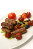 Kebab rolls and olives Stock Photography