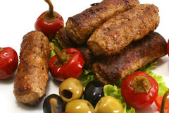 Kebab rolls with olives and pepper Royalty Free Stock Images