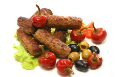 Kebab rolls with olives pepper Royalty Free Stock Image