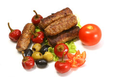 Kebab Rolls and Vegetables Stock Photography
