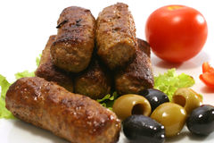 Kebab rolls and vegetables Stock Images