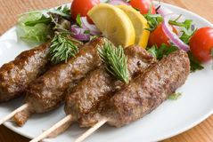 Kebab with salad Stock Photo