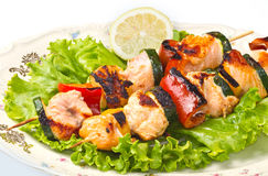 Kebab Salmon Foto de Stock Royalty Free