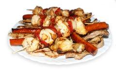 Kebab, salsiccie e carne Fotografia Stock Libera da Diritti